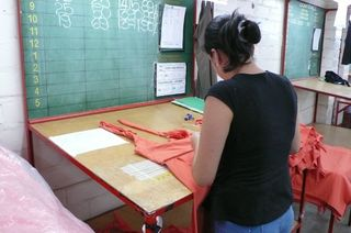 Factory quality auditor in Colombia looking at Patagonia production