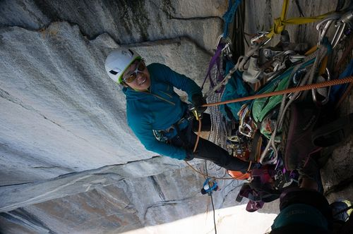 Yoshiko at belay top of p 4_2